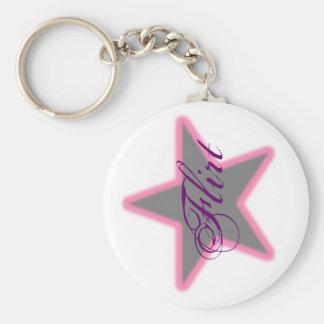 Star Grey pink, Flirt Basic Round Button Key Ring