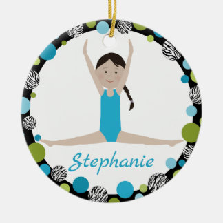 Star Gymnast Black Braid in Aqua and Green Ceramic Ornament