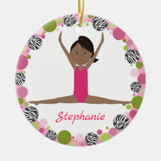 Star Gymnast Black Ponytail In Pinks Ceramic Ornament