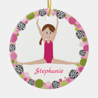 Star Gymnast Brown Braid in Pinks Ceramic Ornament
