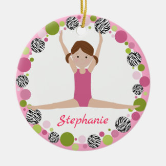 Star Gymnast Brown Pony Tails in Pinks Ceramic Ornament