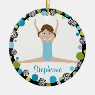 Star Gymnast Brown Ponytails In Aqua and Green Ceramic Ornament