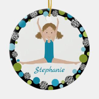 Star Gymnast Curly Hair in Aqua and Green Ceramic Ornament