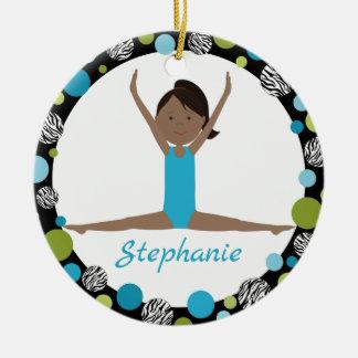Star Gymnast Dark Hair Ponytail in Aqua and Green Ceramic Ornament