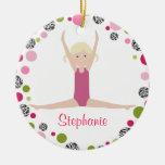 Star Gymnast in Pinks Personalised Round Ceramic Decoration