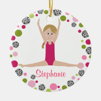 Star Gymnast in Pinks Personalized Round Ceramic Decoration