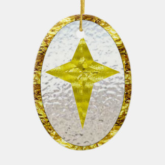 Star in Stained Glass Ceramic Oval Decoration