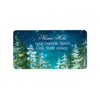 Star Light Night Forest Return Address Address Label