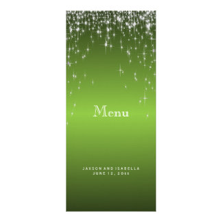 Star Lights in Lime Green - Menu Personalized Rack Card