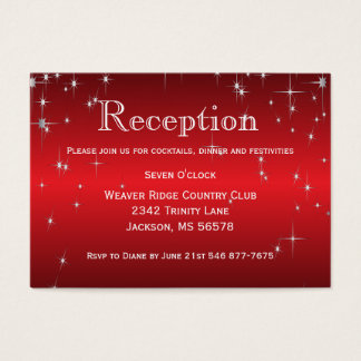 Star Lights in Metallic Red - Reception Business Card