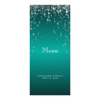 Star Lights in Teal - Menu Customized Rack Card