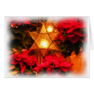 Star Luminaria Red Poinsettias Watercolor Card