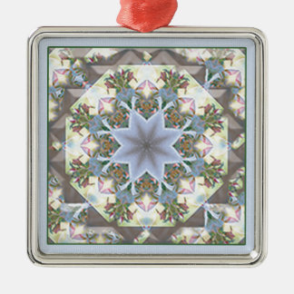 Star Mandala Square Ornament/Lavender Metal Ornament