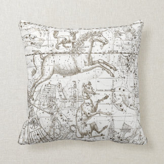 Star Map Unicorn Dog Canis Sepia White Drawing Throw Pillow