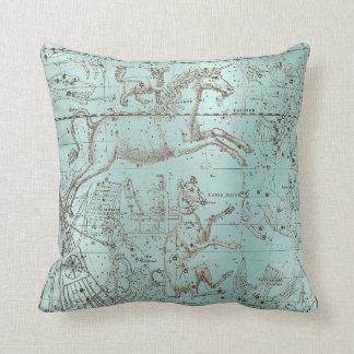 Star Map Unicorn Dog Canis Steel Aqua Water Ocean Throw Pillow