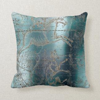 Star Map Unicorn Dog Canis Steel Aqua Water Steel Throw Pillow