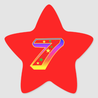 Star Number 7th Birthday Party Sticker
