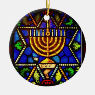 STAR OF DAVID AND MENORAH CERAMIC ORNAMENT