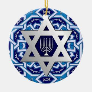 Star of David and Menorah Design Hanukkah Ornament