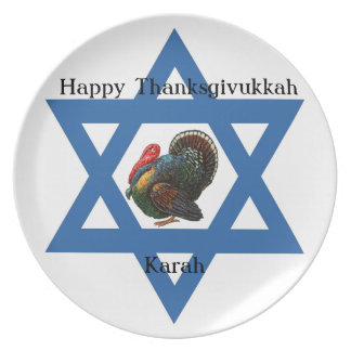 Star of David and Turkey Thanksgivukkah Plate