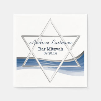 Star of David Bar Mitzvah Blue and Silver Disposable Serviettes