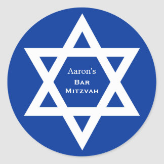 Star of David Bar Mitzvah blue Classic Round Sticker