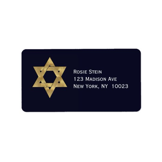 Star of David Blue and Gold accent address labels