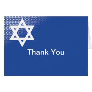 Star of David Blue Bar Mitzvah Thank You Card