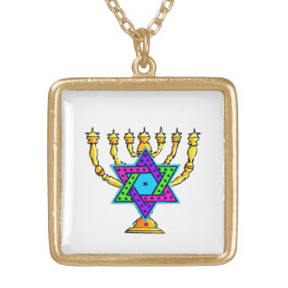Star of David Candlesticks Gold Plated Necklace