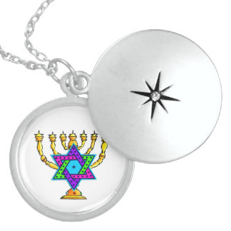 Star of David Candlesticks Locket Necklace