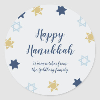 Star of David | Cute Blue and Gold  Hanukkah Classic Round Sticker