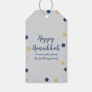 Star of David   Cute Blue and Gold Hanukkah Gift Tags