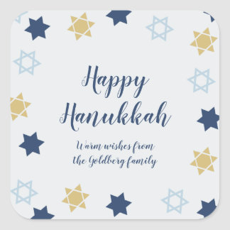 Star of David | Cute Blue and Gold  Hanukkah Square Sticker
