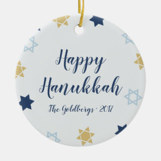 Star of David | Cute Hanukkah Blue and Gold Ceramic Ornament