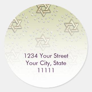 Star of David Damask Gold Return Address Stickers