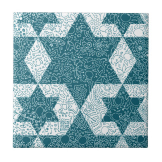 Star of David design made in Jerusalem Small Square Tile