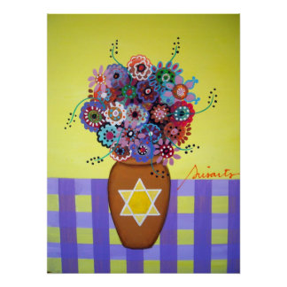 Star of David Flowers Poster