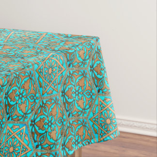 Star of David Golden Turquoise Tablecloth