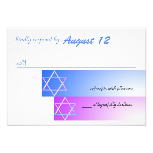 Star of David Gradient Blue and Purple Response Personalized Invite
