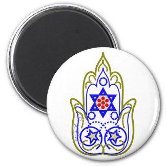 Star Of David Hamsa Hand Of Miriam 6 Cm Round Magnet