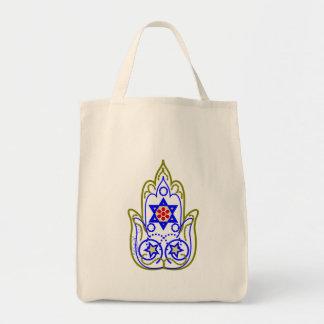 Star Of David Hamsa Hand Of Miriam Grocery Tote Bag