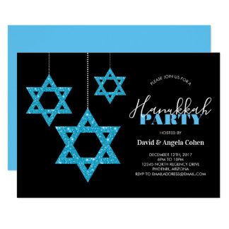Star of David Hanukkah Party Card