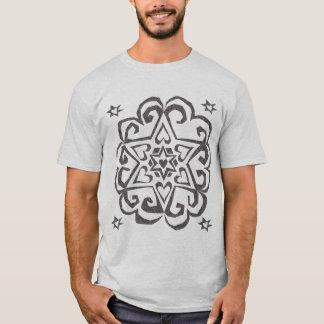 Star of David Heart Mandala Dark Ink T-Shirt