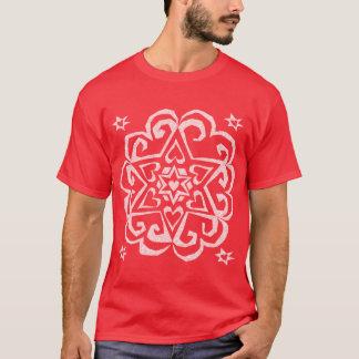 Star of David Heart Mandala White Ink T-Shirt