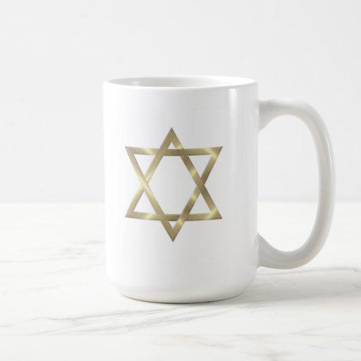 Star of David in shiny gold Coffee Mugs