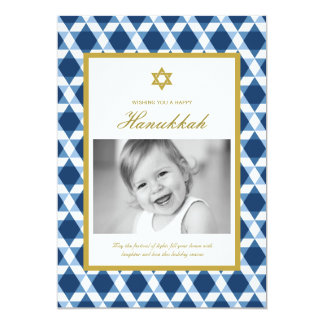 Star Of David Pattern Hanukkah Photo Greetings 13 Cm X 18 Cm Invitation Card
