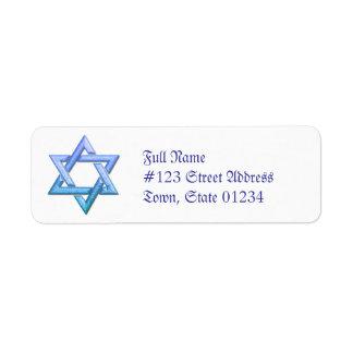 Star of David Return Address Mailing Label Return Address Label