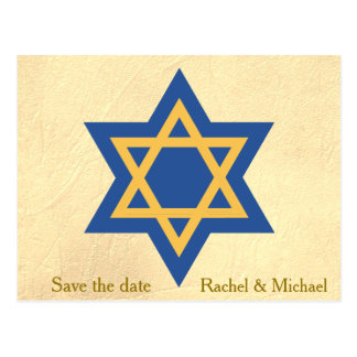 Star of David Save the Date Postcard