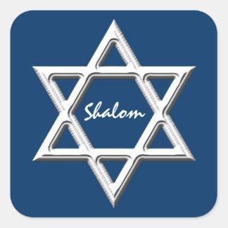 Star of David-Shalom/White on Blue Background Square Sticker