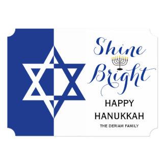 Star of David Shine Bright Hanukkah holiday blue 13 Cm X 18 Cm Invitation Card
